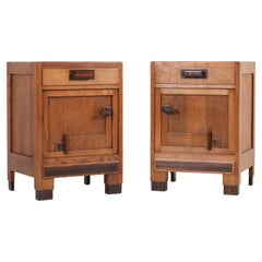 Two Oak Art Deco Haagse School Night Stands or Bedside Tables, 1920s