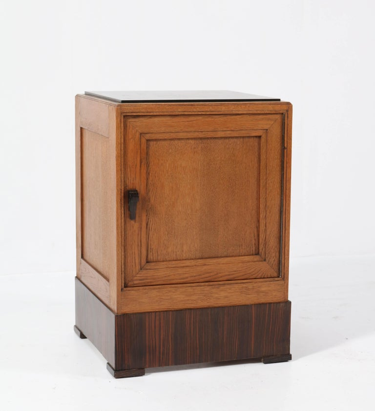 Two Oak Art Deco Haagse School Nightstands or Bedside Tables, 1920s For Sale 5