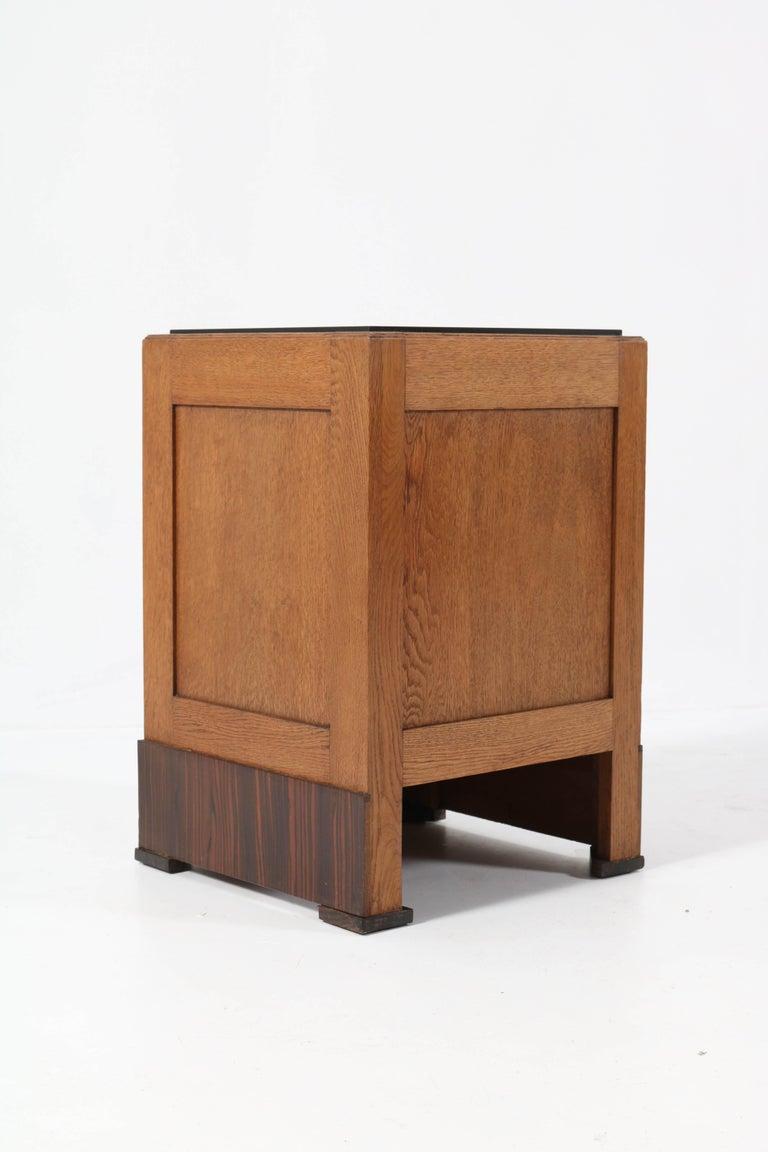 Two Oak Art Deco Haagse School Nightstands or Bedside Tables, 1920s For Sale 6