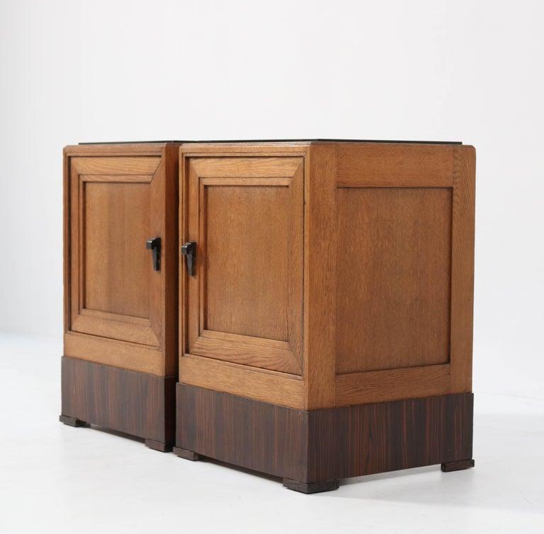 Dutch Two Oak Art Deco Haagse School Nightstands or Bedside Tables, 1920s For Sale