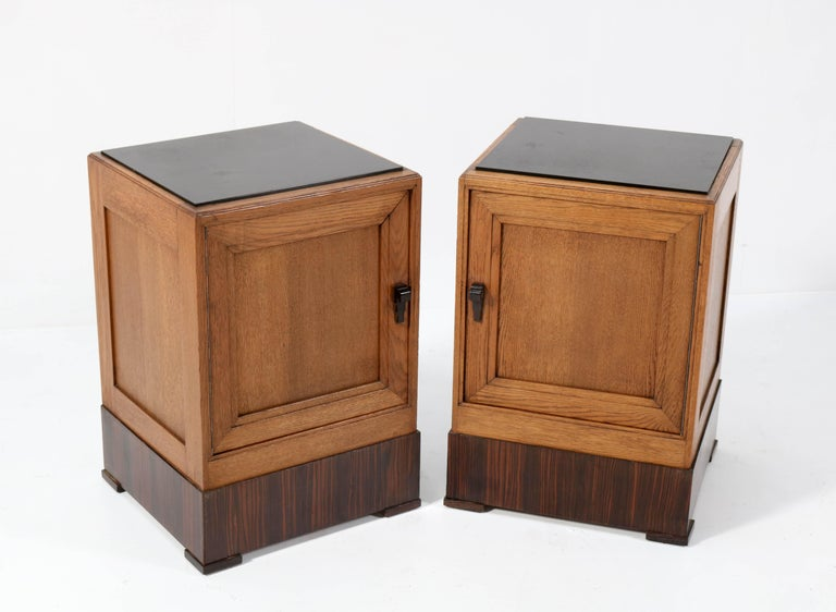 Early 20th Century Two Oak Art Deco Haagse School Nightstands or Bedside Tables, 1920s For Sale