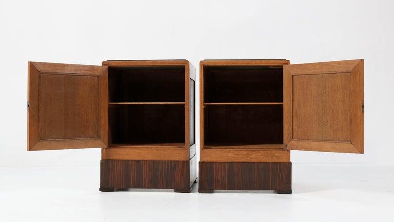 Granite Two Oak Art Deco Haagse School Nightstands or Bedside Tables, 1920s For Sale