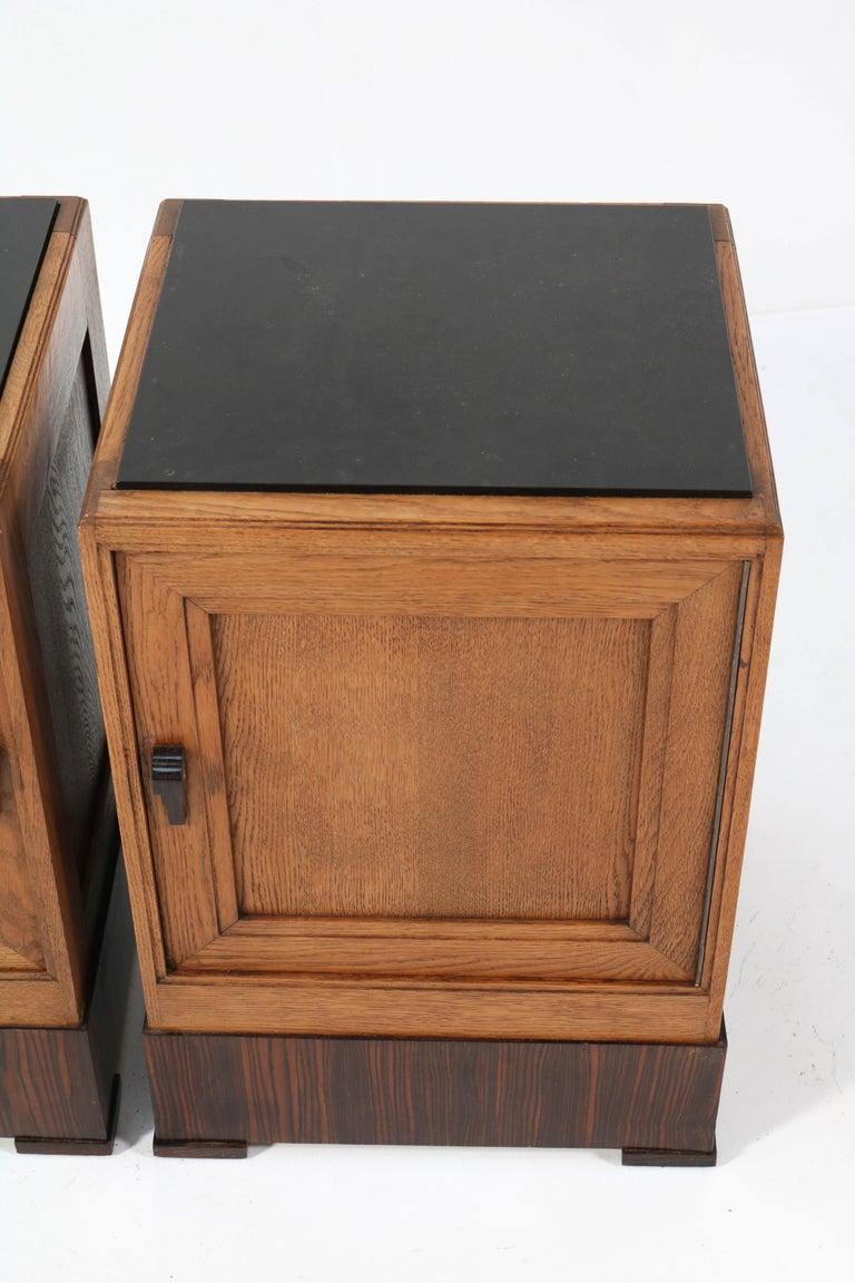 Two Oak Art Deco Haagse School Nightstands or Bedside Tables, 1920s For Sale 2