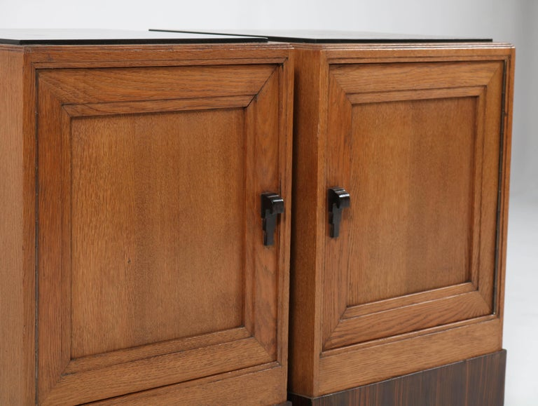 Two Oak Art Deco Haagse School Nightstands or Bedside Tables, 1920s For Sale 3