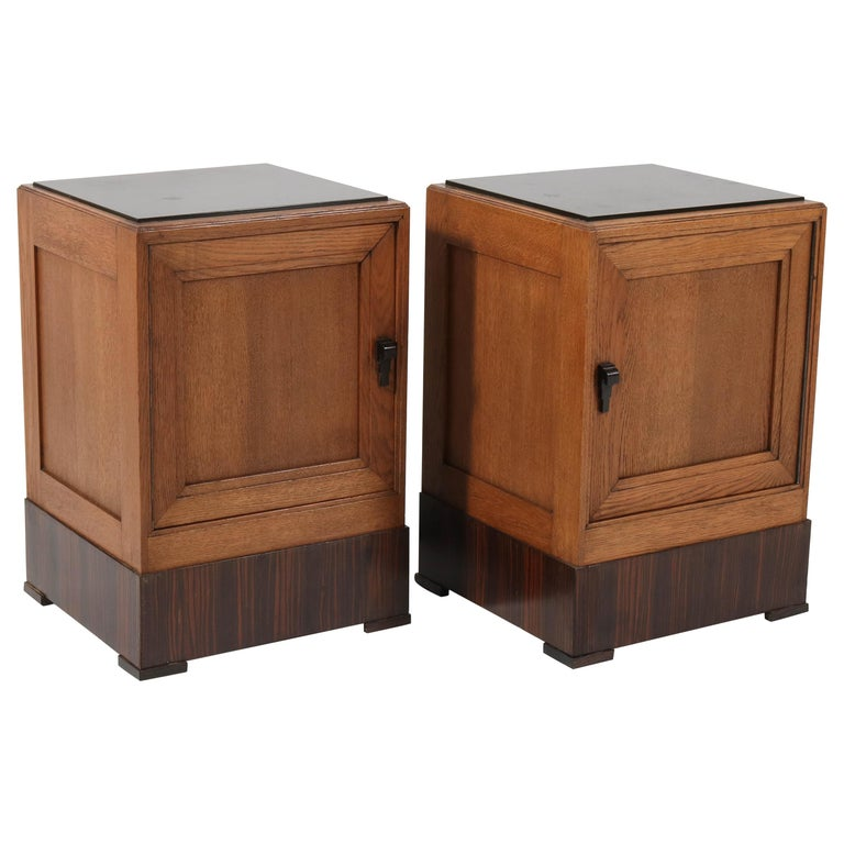 Two Oak Art Deco Haagse School Nightstands or Bedside Tables, 1920s For Sale