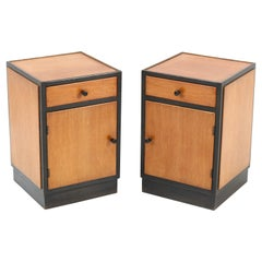 Two Oak Art Deco Haagse School Nightstands or Bedside Tables, 1920s
