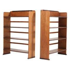 Two Oak Art Deco Haagse School Open Bookcases by P.E.L. Izeren, 1920s