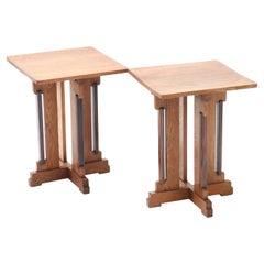 Two Oak Art Deco Haagse School Side Tables by P.E.L. Izeren for Genneper Molen