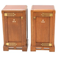 Two Oak Art Nouveau Arts & Crafts Nightstands or Bedside Tables, 1900s