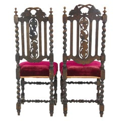 Two-Oak Carved Chairs, Hall Chairs, Barley Twist, Scotland 1880