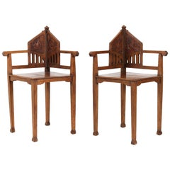 Two Oak Dutch Arts & Crafts Art Nouveau Corner Chairs, 1900s