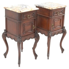 Two Oak French Louis XV Style Bedside Tables or Nightstands, 1900s