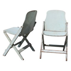 Two Old Folding Chairs in Bentwood Italy 1950s Curved Wood
