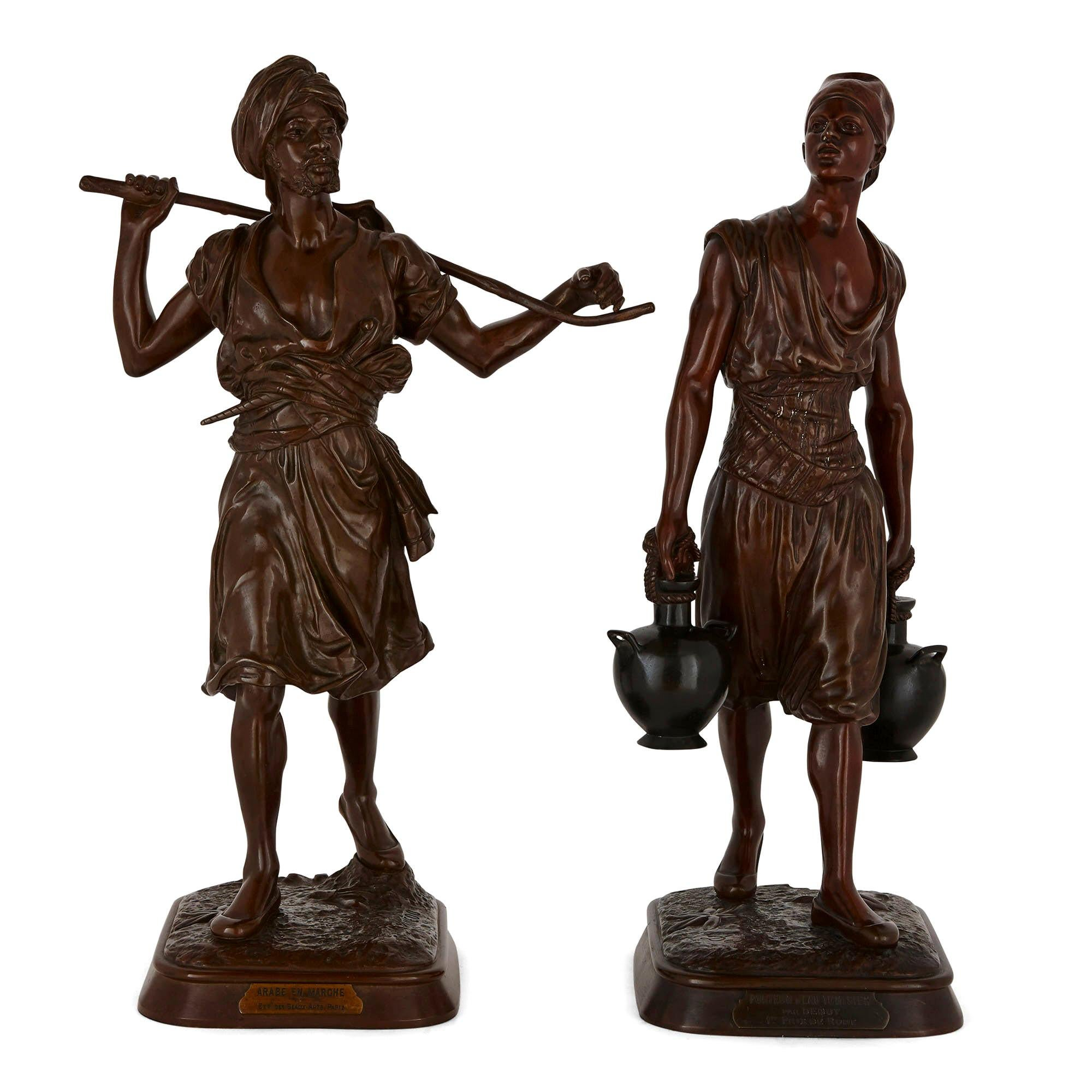 Two Orientalist Patinated Bronze Sculptures by Debut and Pinedo
