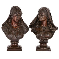 Two Orientalist Spelter Busts of Female Figures
