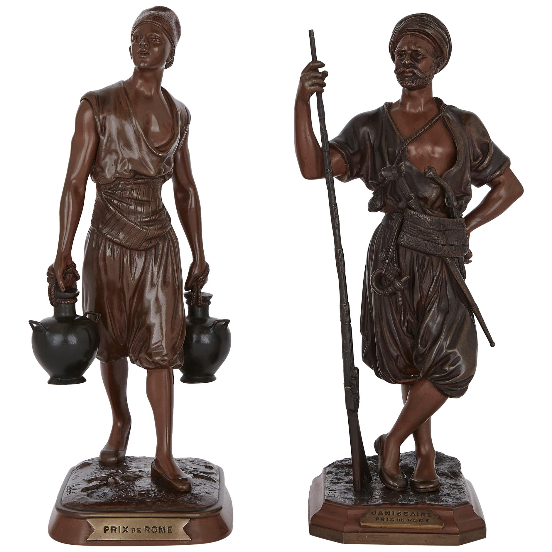 Two Orientalist Style Patinated Bronze Maquettes by Marcel Début