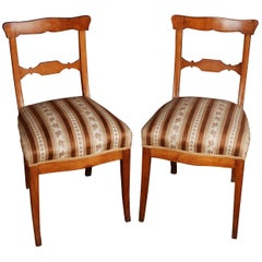 Two Original Biedermeier Chairs, circa 1825 Cherrywood Warm Patina