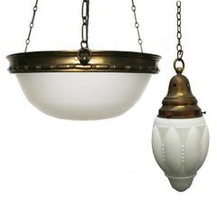 Two Original Glass Pendant Ceiling Lights