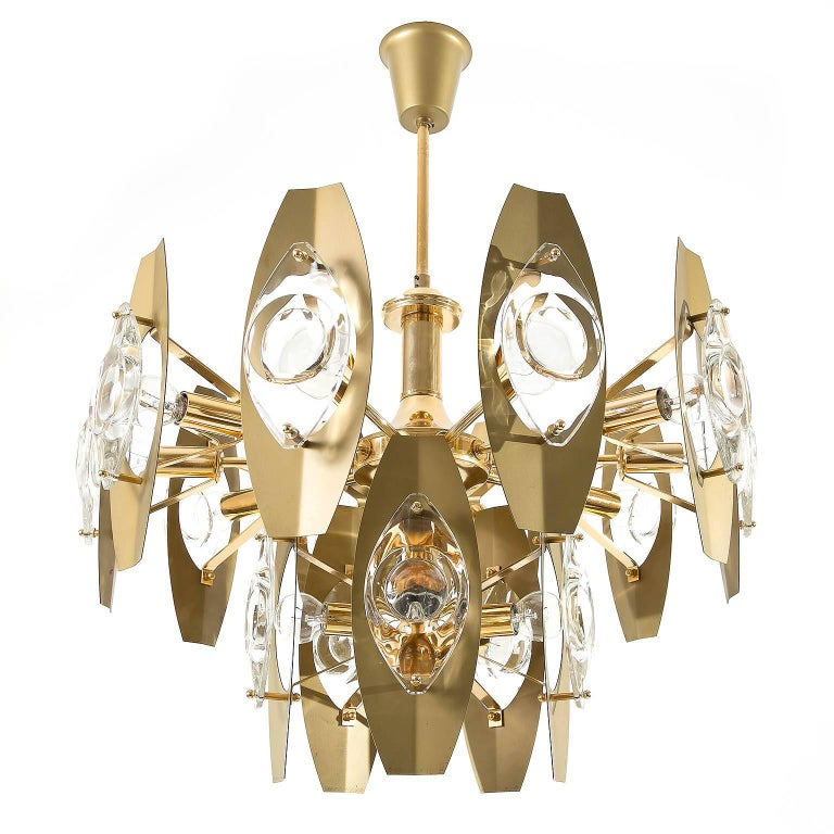 Mid-Century Modern Two Oscar Torlasco Chandeliers, Glass Gilt Brass, Italy, 1960s For Sale