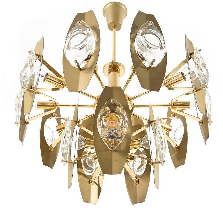 Italian Two Oscar Torlasco Chandeliers, Glass Gilt Brass, Italy, 1960s For Sale