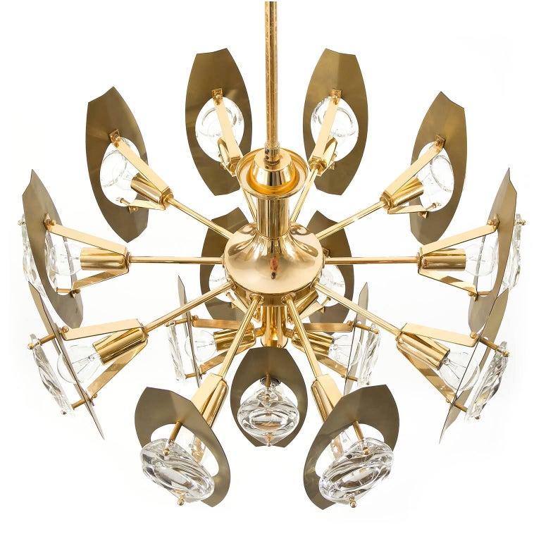 Metal Two Oscar Torlasco Chandeliers, Glass Gilt Brass, Italy, 1960s For Sale