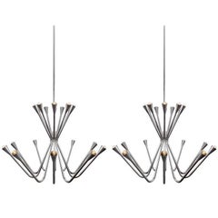 Two Oversized 1960s Chrome Chandeliers