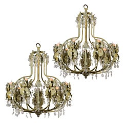 Two Painted Iron Chandeliers