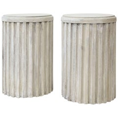 Two Painted Pedestal Tables