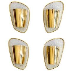 Four Midcentury Asymetrical Mirror Brass Sconces, Stilnovo Gio Ponti Era