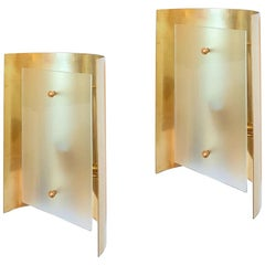 Two Pairs Brass and Frosted Glass Midcentury Style Sconces by D'Lightus, Bespoke