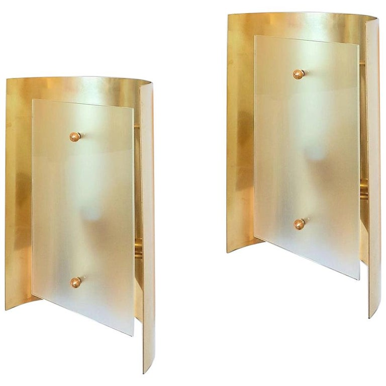 Two Pairs Brass and Frosted Glass Midcentury Style Sconces by D'Lightus, Bespoke For Sale