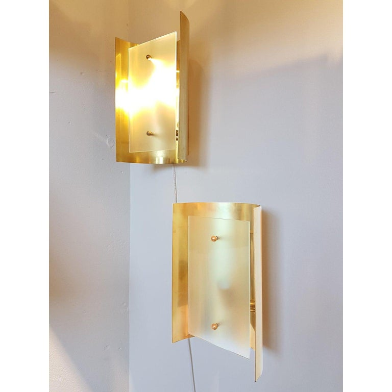 Mid-Century Modern Two Pairs Brass and Frosted Glass Midcentury Style Sconces by D'Lightus, Bespoke For Sale