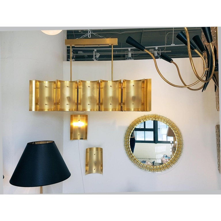 Contemporary Two Pairs Brass and Frosted Glass Midcentury Style Sconces by D'Lightus, Bespoke For Sale