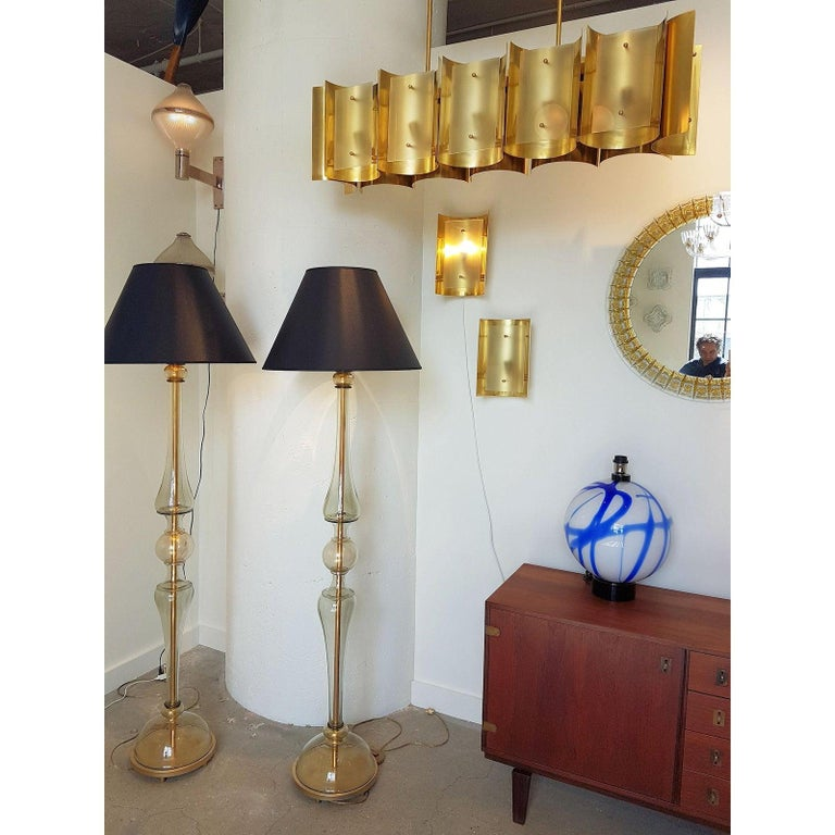 Two Pairs Brass and Frosted Glass Midcentury Style Sconces by D'Lightus, Bespoke For Sale 1