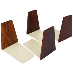Two Pairs Danish Mid-Century Modern Rosewood and Metal Book Ends, Denmark, 1960s