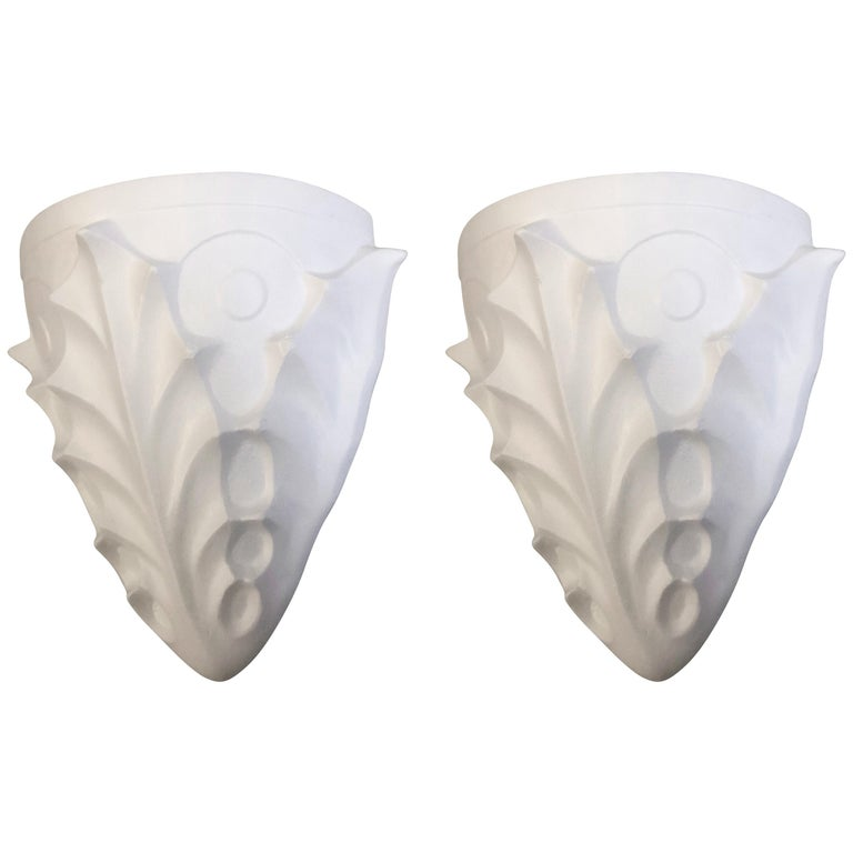 Two Pairs French Midcentury Plaster Sconces, Giacometti & Jean-Michel Frank For Sale