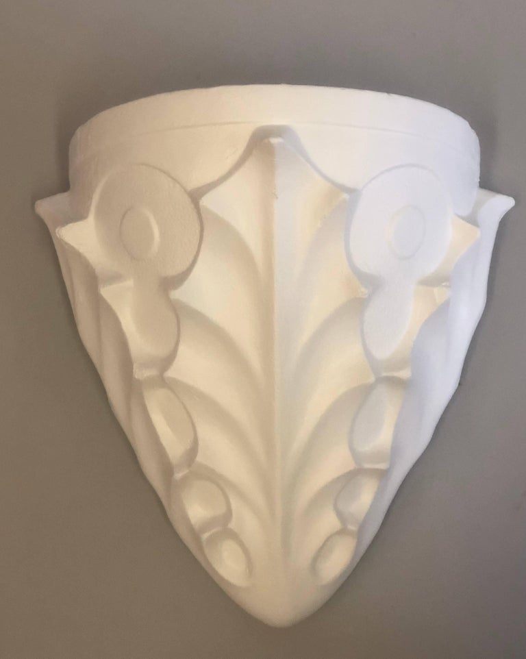 Two Pairs French Midcentury Plaster Sconces, Giacometti & Jean-Michel Frank For Sale 1