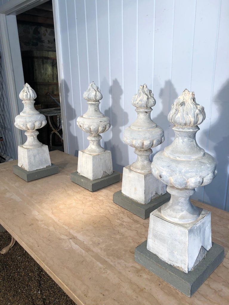 These flame zinc finials are real beauties! With their soft grey weathered surface and deep casting, they would make stunning lamps, bookends, or decorative pieces for your mantelpiece or coffee table. We have added stone bases with interior