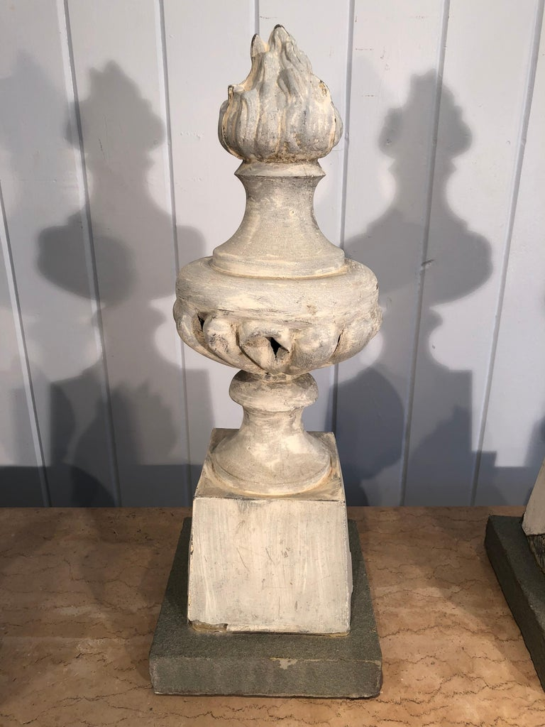 Two Pairs of 19th Century French Zinc Flame Finials For Sale 2