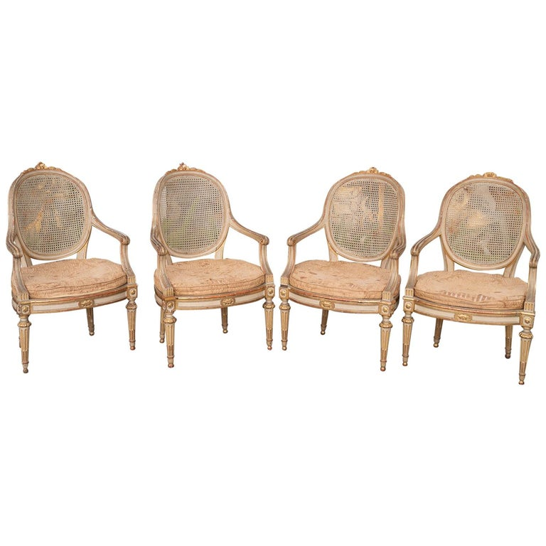 Two Pairs of 19th Century Gilded and Painted Armchairs  For Sale