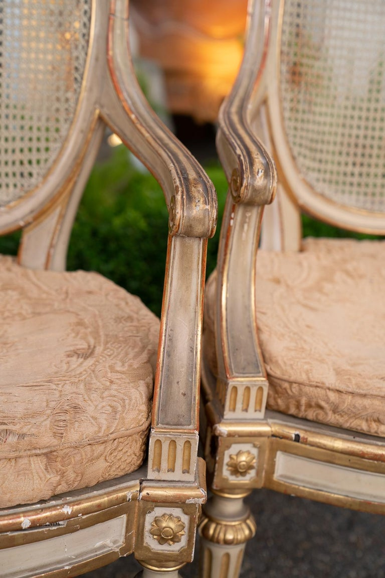 Louis XVI Two Pairs of 19th Century Gilded and Painted Armchairs  For Sale