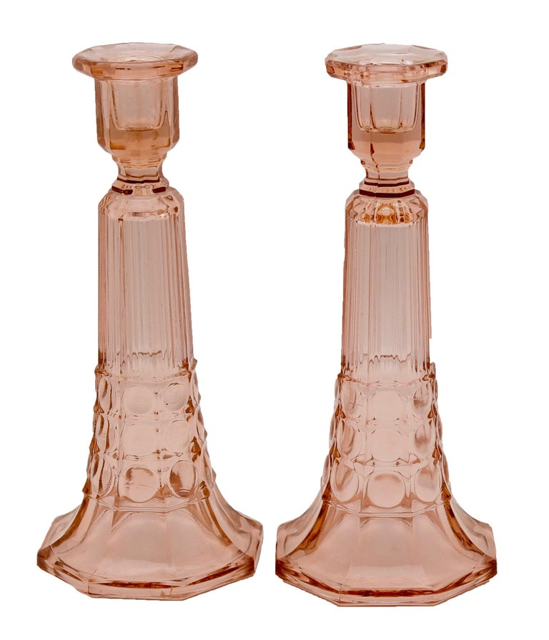 Belgian Two Pairs of Art Deco Candlesticks by Val Saint Lambert 'Luxval' For Sale