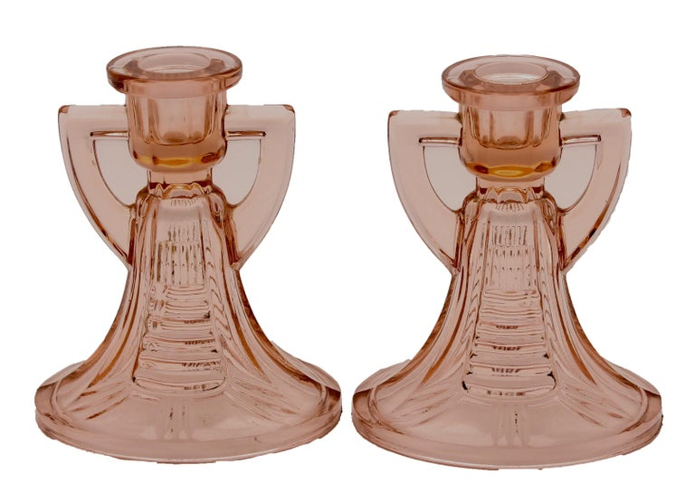 Molded Two Pairs of Art Deco Candlesticks by Val Saint Lambert 'Luxval' For Sale