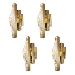 Two Pairs of Crystal Gold Sconces / Flush Mounts by Fabio Ltd