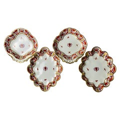 Two Pairs of Derby Porcelain Shaped Dishes Hand-Painted England, Circa 1810
