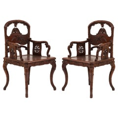 Two Pairs of English Regency Style Rosewood Carved Armchairs