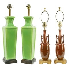Two Pairs of Frederick Cooper Hollywood Regency Table Lamps, Great Apple Green
