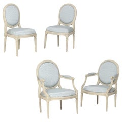 Two Pairs of French White Painted Louis XVI Chairs, Signed Nadal, 1733-1783