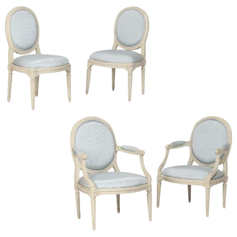 Two Pairs of French White Painted Louis XVI Chairs, Signed Nadal, 1733-1783 For Sale