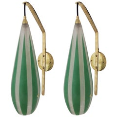 Pair of Green Stripes Sconces